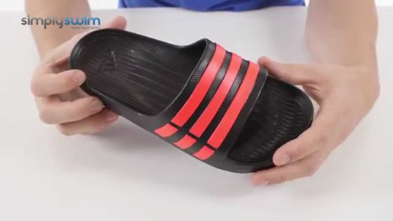buy popular f1a5a 0f0c9 Adidas Duramo Slide Sandals - Black and Infrared - www.simplyswim.com -  YouTube