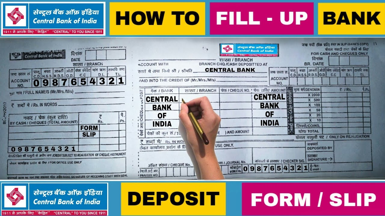 deposit form fill up  How To Fill Up Cash Deposit Form / Slip Of [Cent Bank] Central Bank Of  India | In Hindi Video 14