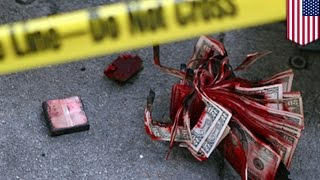Houston bank robbery fails when exploding dye pack destroys money stolen by two armed gunmen