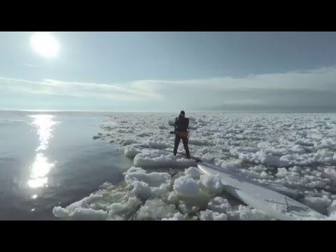 Paddleboarding Lake Michigan Icebergs