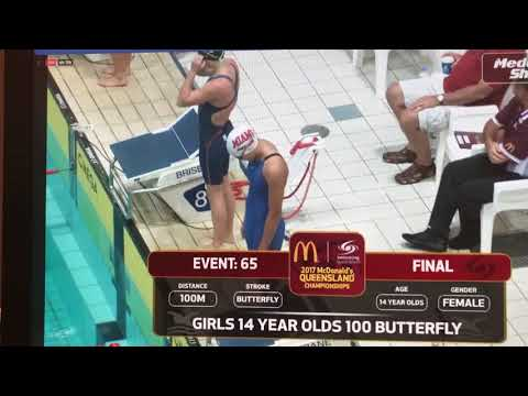 2017 McDonalds Queensland Swimming Championships 14 year Girls 100m Fly Final