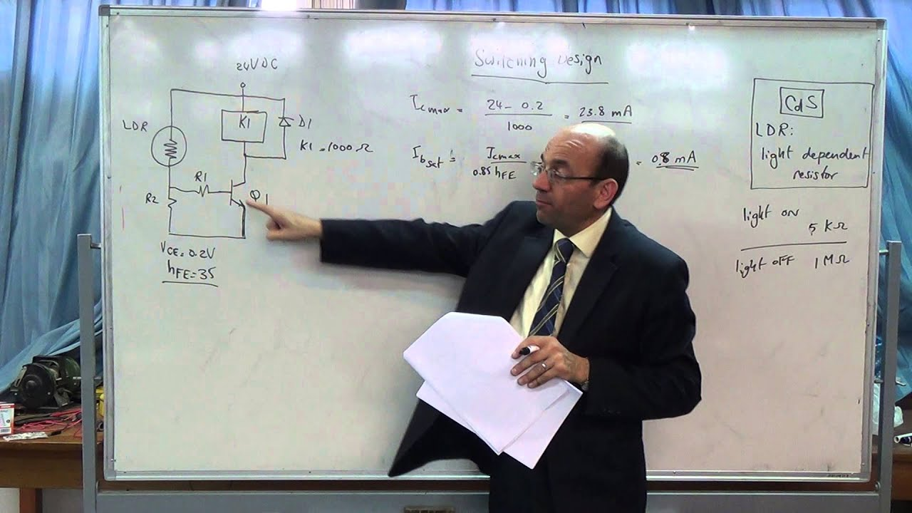 Designing Transistor Switching Circuits Ii Example Of An Ldr Driven Relay Circuit Relay18 12 2014 Youtube