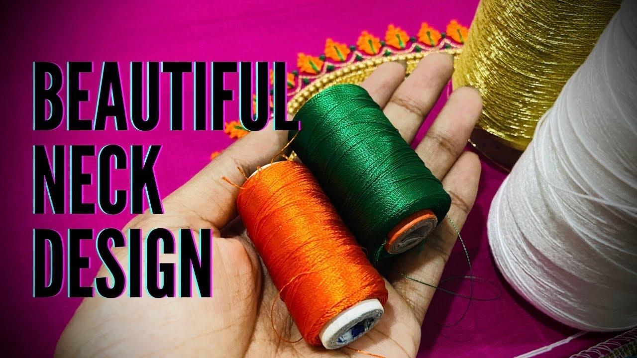 Beautiful neck design for wedding | aari work blouse designs