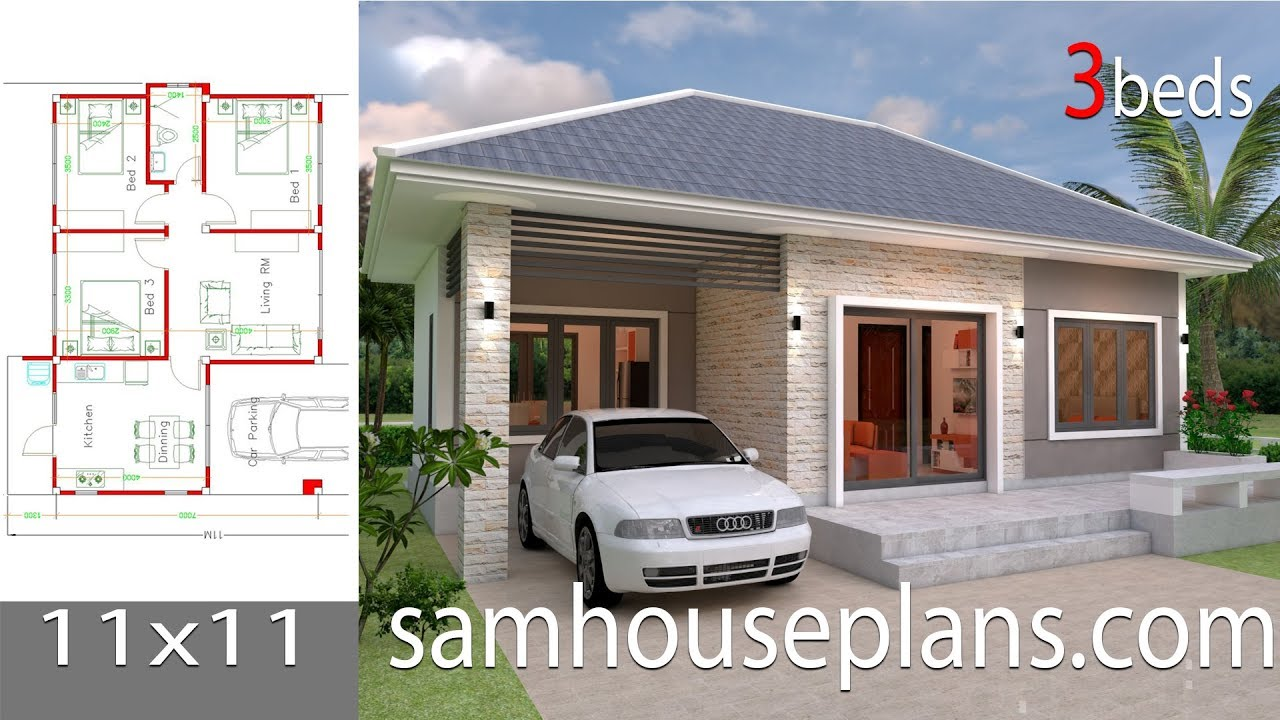 Simple House Design Plans 11x11 With 3 Bedrooms Full Plans Youtube