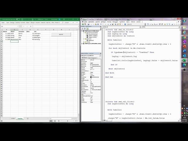 176. Excel-VBA: Wenig Wartungsarbeit, stabiler Code: Daten aus TextBoxen in einer Tabelle speichern