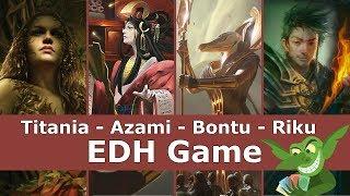 Titania vs Azami vs Bontu vs Riku EDH / CMDR game play for Magic: The Gathering