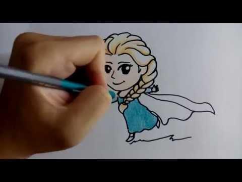 สอนวาดรูป ระบายสี การ์ตูน เจ้าหญิง เอลซ่า elsa วาดการ์ตูนกันเถอะ