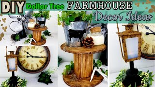 Dollar Tree DIY | Farmhouse Wooden Spool Tray | Lantern DIY