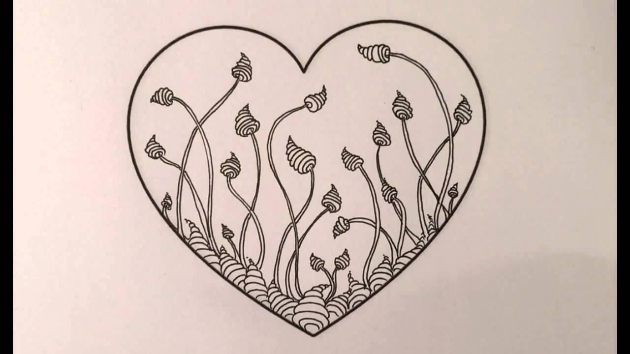 Zentangle Valentine Heart Series #3 - Zinger - YouTube