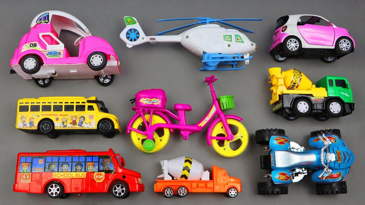 Download Taşıma Araçları - Mikser Kamyonu, Helikopter, Okul Otobüsü, Bisiklet Oyuncak