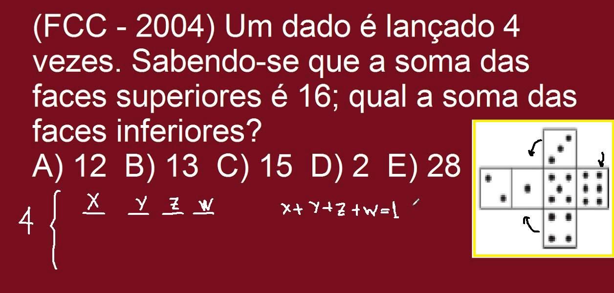 Desafios De Matemática E Raciocínio Lógico Questão Clássica Do Dado