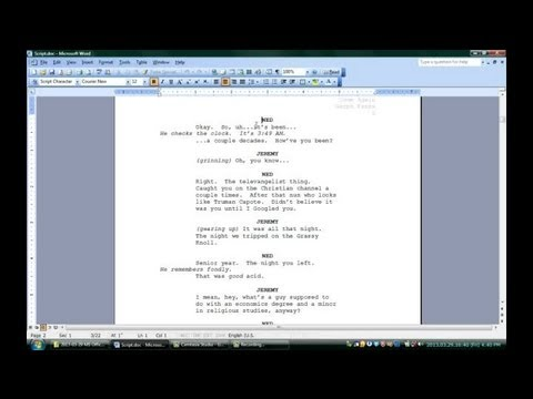 microsoft word screenplay template
