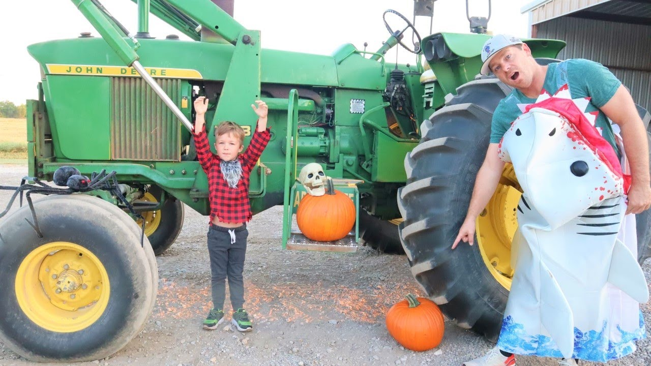 Using tractors on the farm to crush Halloween things | Tractors for kids