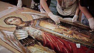 Мозаика из стекла. Церковная мозаика Архангел Михаил.(Витражная мастерская