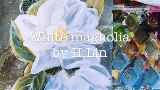 WHITE MAGNOLIA - Acrylic On 185 Gsm Premium Paper By HSIN LIN