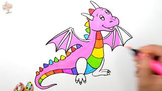 Rainbow Dragon Coloring Page Learn Colors For Girls and Kids