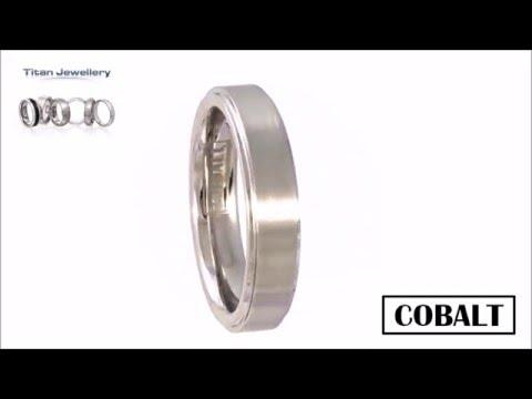 5mm Brushed Centre Cobalt Ridged Ring