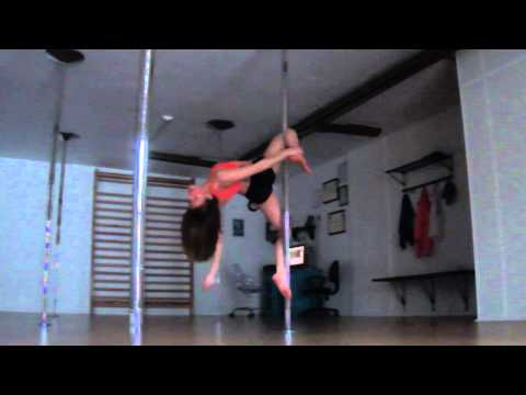 Spinning pole dance moves. Intermediate level.