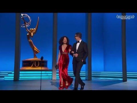 Sandra Oh & Andy Samberg presenting at the Emmys Korean sub
