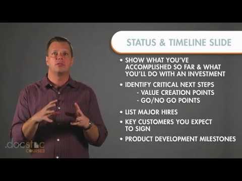 Status & Timeline Slide - Creating The Killer Business Plan