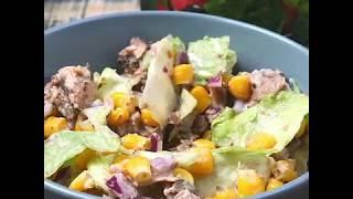 Быстрый и легкий рецепт салата с тунцом | Салат с тунцом и кукурузой
