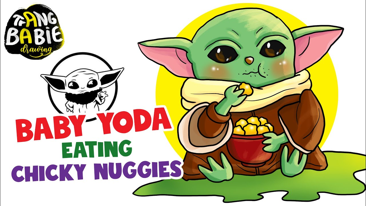 How To Draw Baby Yoda Eating Chicky Nuggies Step By Step For Beginners Youtube