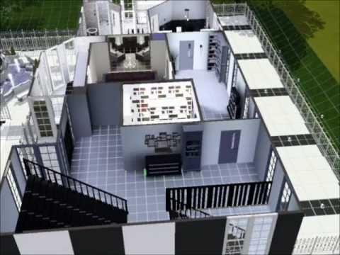 Sims 3 modern black white house mansion inside part 1 for Modern house 6 part 3
