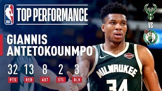 Behind giannis antetokounmpo's game-high 32 points (8-13 fg), 13 rebounds, 8 assists, 3 blocks and 2 steals, the bucks defeated celtics tonight in boston...