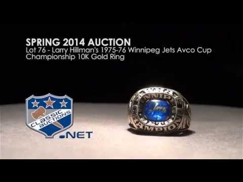 Larry Hillman's 1975-76 Winnipeg Jets Avco Cup Championship 10K Gold Ring