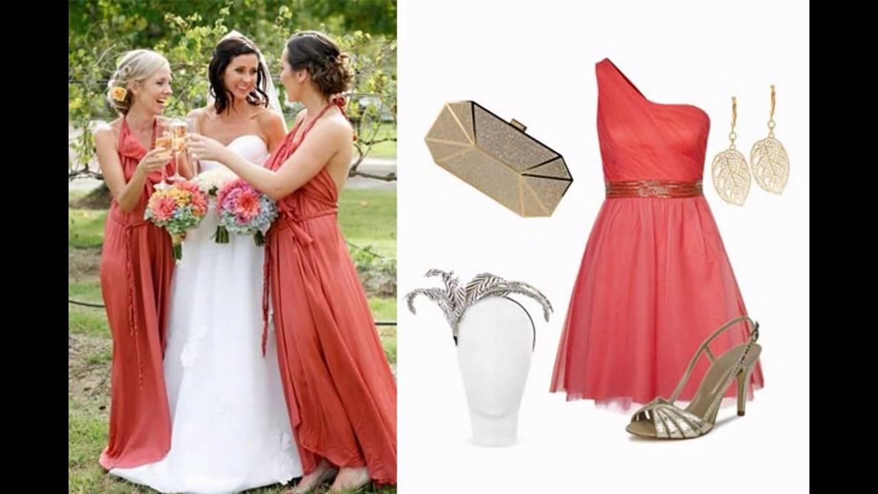 Combinar vestido color coral para boda