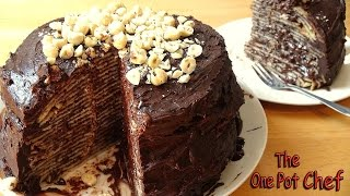 No Bake Chocolate Nutella Crepe Cake | One Pot Chef
