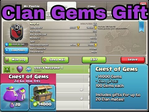 We Gave Some Free Gems Gift To Our Clan Members In Clash Of Clans!