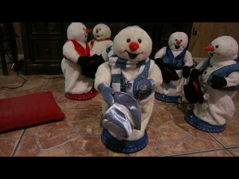 2005 Gemmy peppermint spinning snowman (blue version)