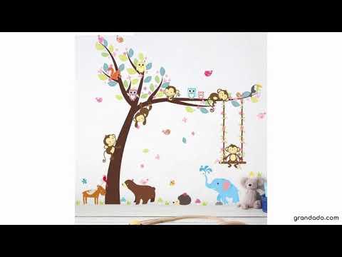 % Jungle Wilde Bos Dieren Olifant Aap Boom Muurstickers Voor Kinderkamer Kinderen Muurtattoo Nursery
