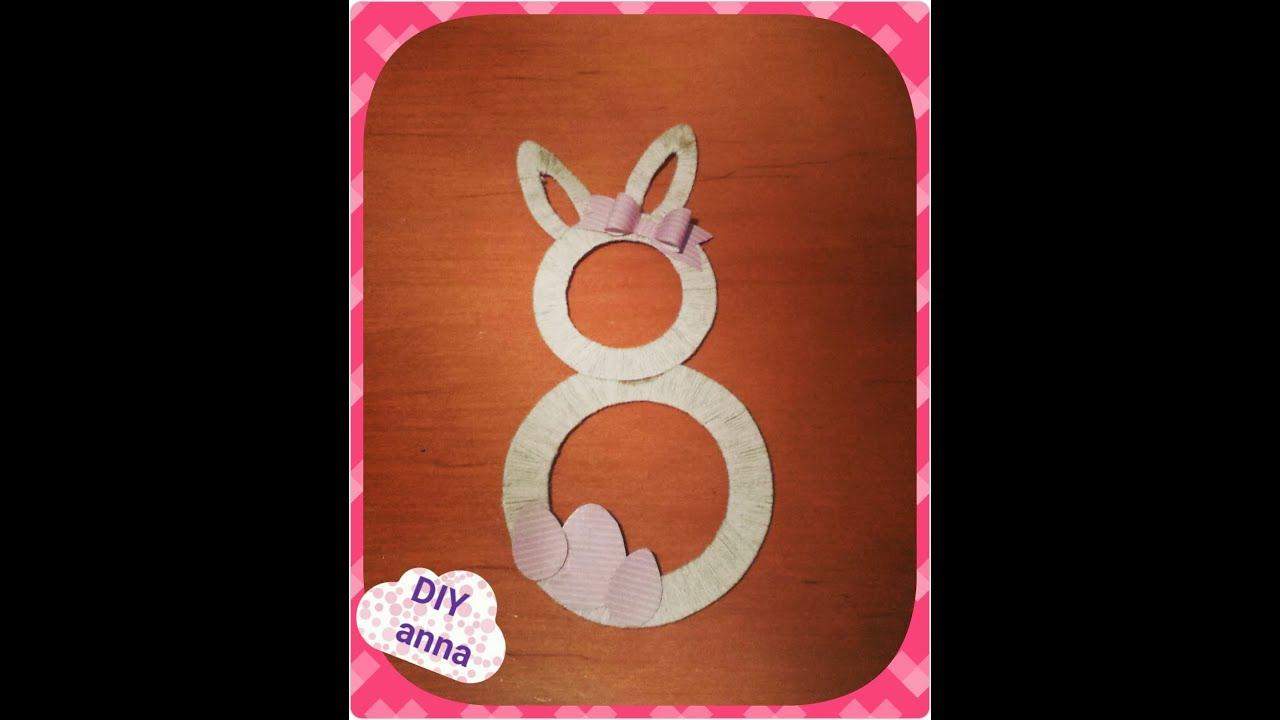 Easter Bunny Eggs Yarn Wreath Decoration Diy Craft Ideas Tutorial