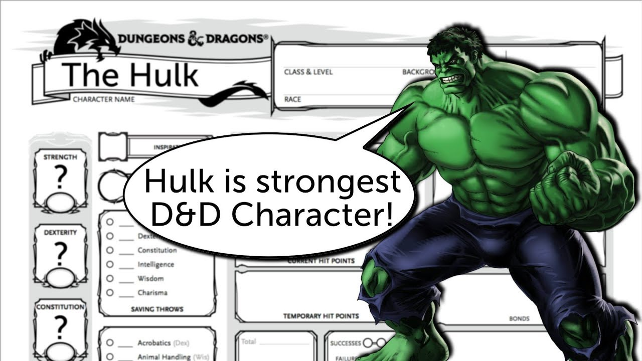 Building The Hulk As A Dd 5e Character Youtube