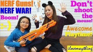 Kids' TOY GUNS: NERF WAR! Nerf Gun Battle, Don't Shoot the Mouse! Kids' Pretend Playtime
