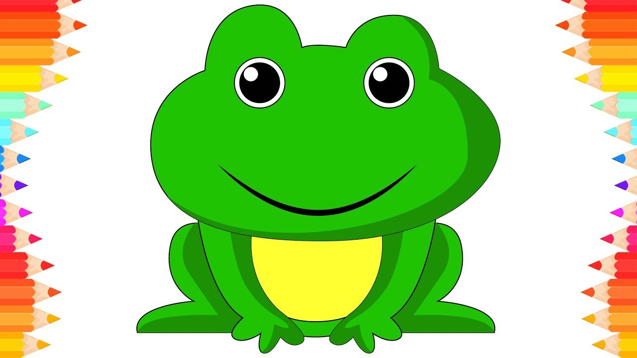 How to Draw Cute Frog for Kids🐸 Drawing Animals. Step by Step Art ...