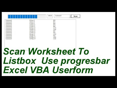 Scan Worksheet To listbox Use Progressbar Userform Excell VBA