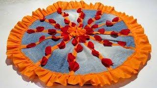 पुरानी जीन्स से आसान तरीके से बनाएं पायदान 15 मिनट में Paydan banana, Door mat, Floor mat