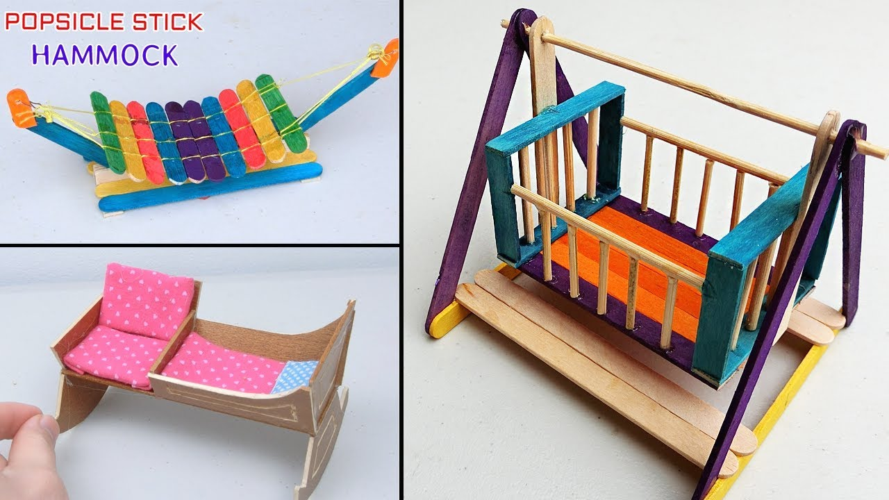 5 Easy Popsicle Stick Crafts | Miniature Cradle and Hammock - DIY & Craft  ideas for kids