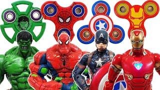 Avengers & Fidget Spinner Go~! Spider-Man, Hulk, Iron Man, Captain America, Bumblebee, Transformer