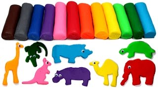 Play Doh Safari Wild Animals Learn Colors with Animal Molds Creative Fun for Kids