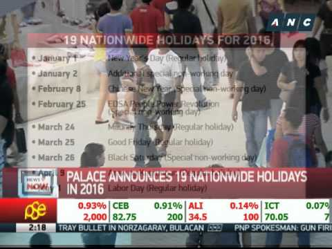 Palace announces 19 nationwide holidays in 2016