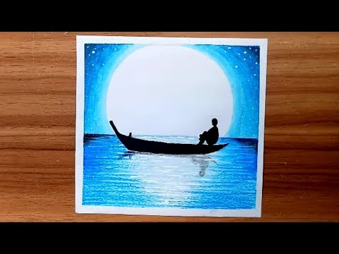 How to draw Moon-light-night scenery of alone boy.Step by step(easy draw)