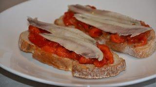 Анчоусы в уксусе с запеченным перцем