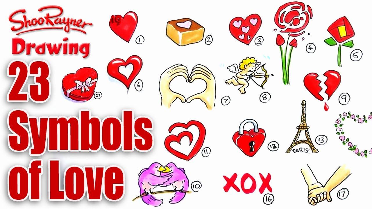 How To Draw 23 Symbols Of Love Youtube