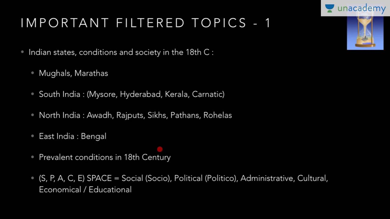 Unacademy History For IAS: Detailed analysis of syllabus + Important topics  upto mid 19th Century