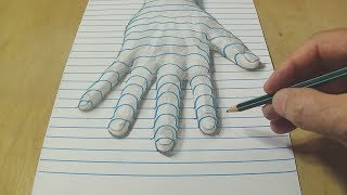 New Perspective - Drawing a Hand on Line Paper - Trick Art with Graphite Pencil