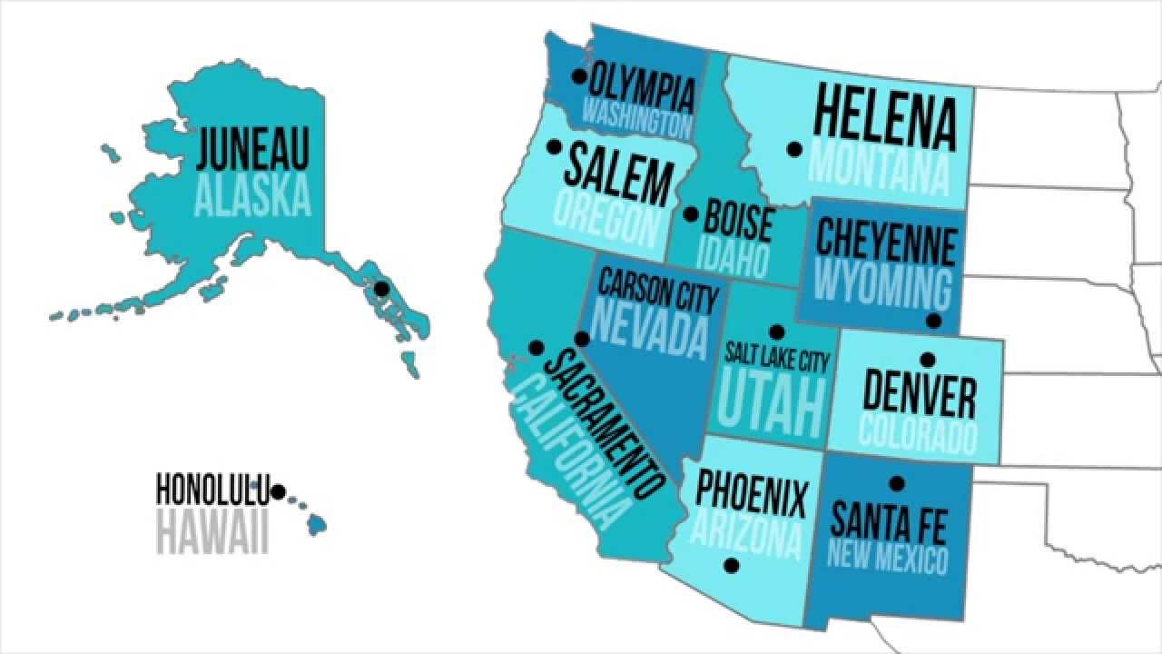 Map puzzles   regions, states, capitals and abbreviations   google slides · donald's english classroom by. Western Capitals States Youtube